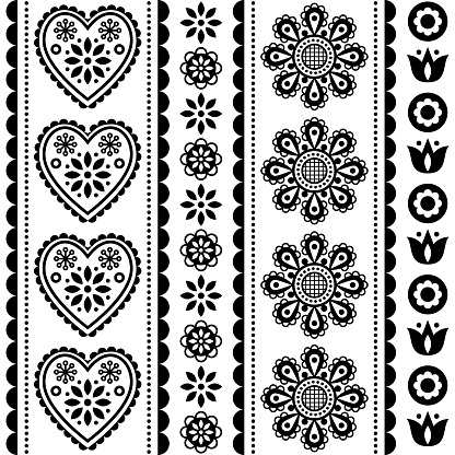 Scandinavian seamless folk art vector pattern with flowers and hearts, black and white Nordic ornament design - long stripes