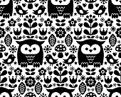 Scandinavian seamless pattern, Nordic folk art - inspired by traditional Finnish and Swedish designs