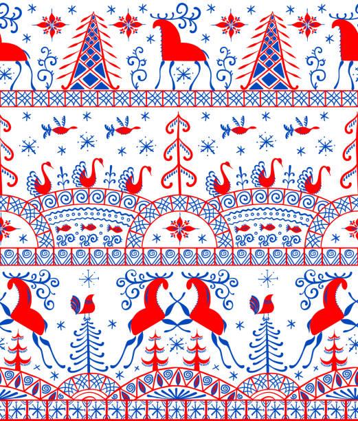 bildbanksillustrationer, clip art samt tecknat material och ikoner med skandinaviskt sömlöst mönster - älg sverige