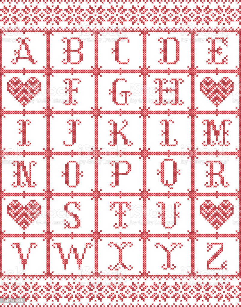 Scandinavian Style Alphabet Inspired By Norwegian Christmas Festive ...