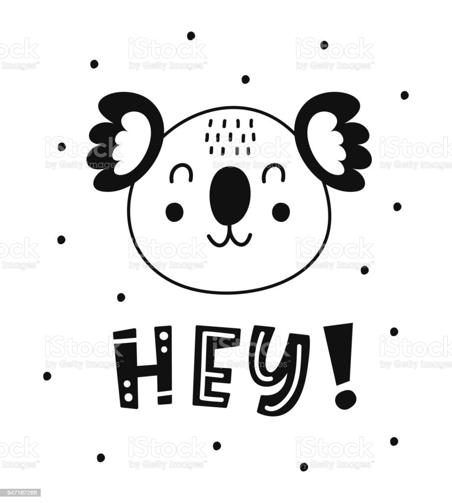 Scandinavian style childish poster with cute animal vector art illustration