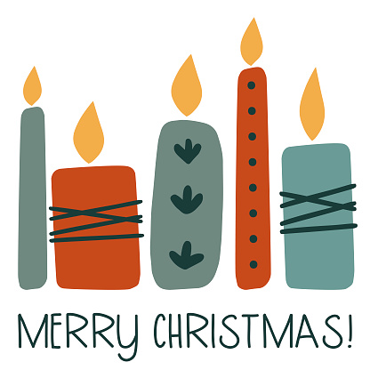 Scandinavian style christmas card with candles.