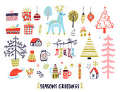 Scandinavian style Christmas illustrations collection. Cozy winter holidays doodles set. Seasons greetings card.