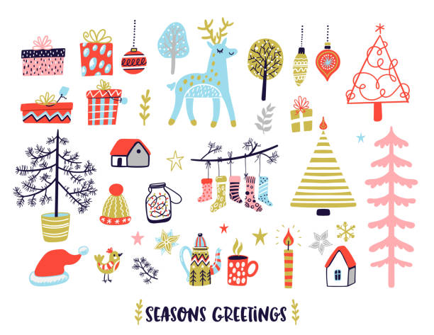 Scandinavian style Christmas illustrations collection. Scandinavian style Christmas illustrations collection. Cozy winter holidays doodles set. Seasons greetings card. scandinavian culture stock illustrations