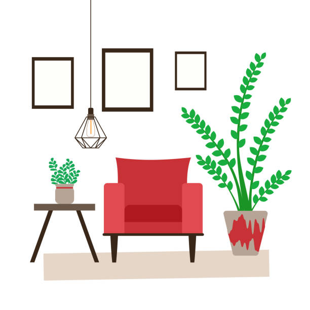 ilustrações de stock, clip art, desenhos animados e ícones de scandinavian style living room interior with indoor plants, red armchair and coffee table and lamp on a white background - coffee table