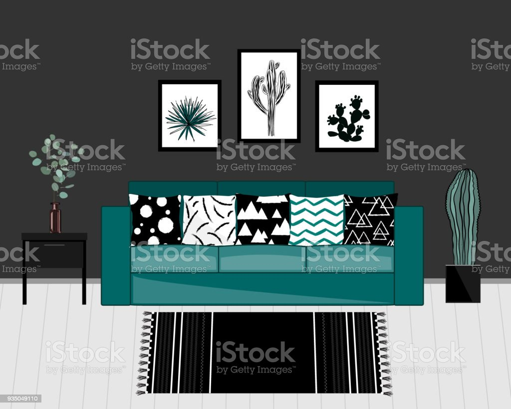 Scandinavian style livingroom interior with black and white carpet, blue sofa with ornamented pillows, home plants, and dark grey wall. Vector vector art illustration