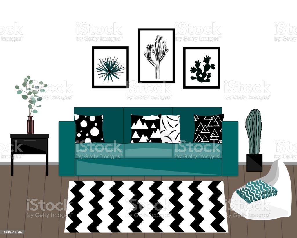 Skandinavischen Stil Wohnzimmer Interieur Mit Schwarzen Und Weißen Teppich,  Blauen Sofa Mit Ornamentierten Kissen,