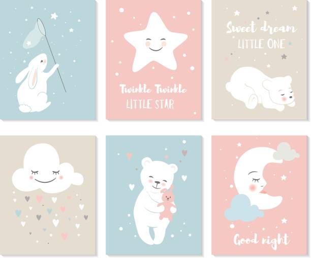 scandinavian style nursery posters. - baby animals stock illustrations
