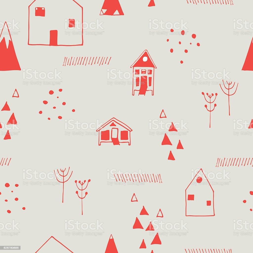 Scandinavian style seamless vector pattern. Holidays in mountains. vector art illustration