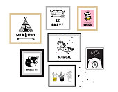 Scandinavian style, simple design, clean and cute black, white illustrations, collection of posters for children room, nursery decor, interior design