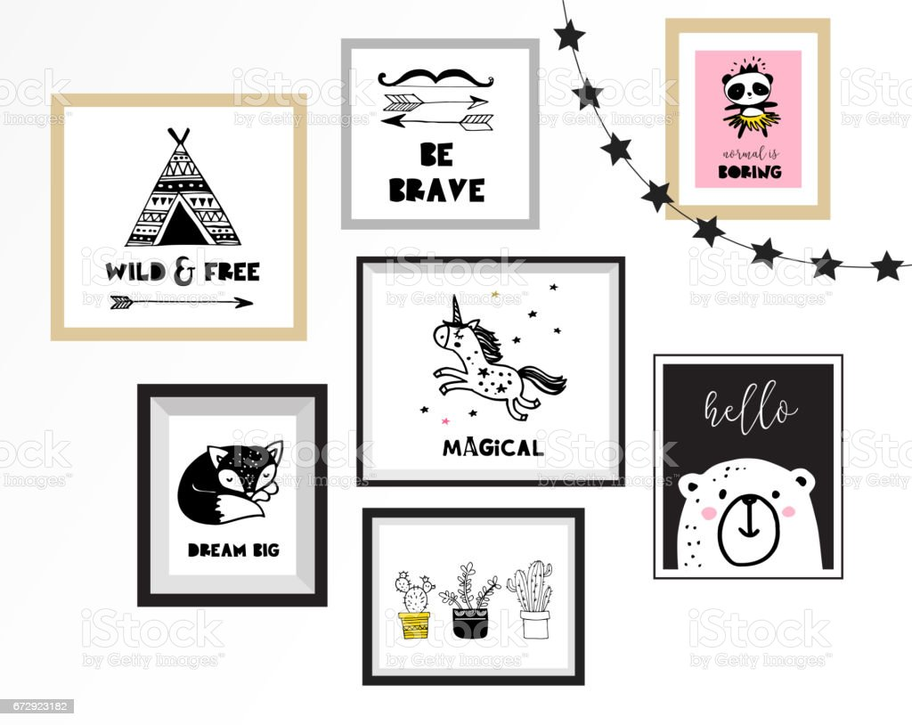 Scandinavian style, simple design, clean and cute black, white illustrations, collection of posters for children room, nursery decor, interior design vector art illustration