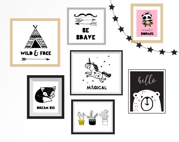 Estilo escandinavo, diseño simple, limpias y lindas ilustraciones negras, blancas, colección de carteles para habitación niños, decoración infantil, diseño de interiores - ilustración de arte vectorial