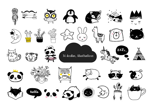 Scandinavian style, simple design, clean and cute black, white illustrations, collection of children doodles, sketches