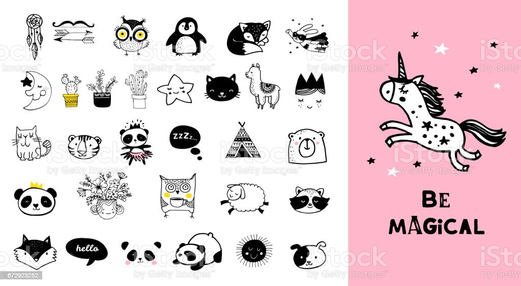 Scandinavian style, simple design, clean and cute black, white illustrations, collection of children doodles, sketches vector art illustration