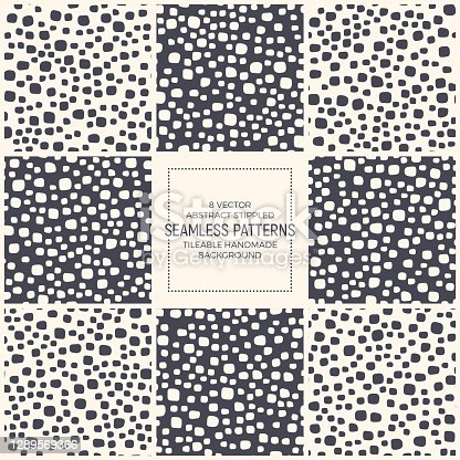 Scandinavian Style Stippled Abstract Vector Fashion Seamless Patterns Set For Textile. Collection Of Repetitive Retro Simple Backgrounds