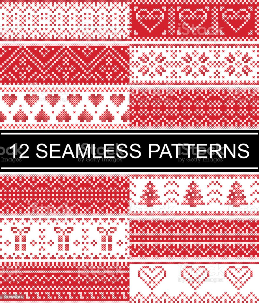 Scandinavian Style Vector Patterns Inspired By Norwegian Christmas ...