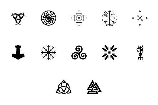 Scandinavian symbols and culture black color set solid style image