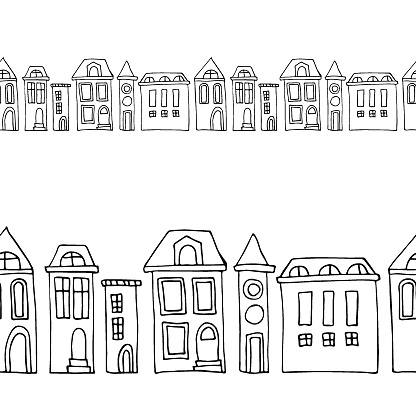 Scandinavian town house sign. Doodle vector seamless border.