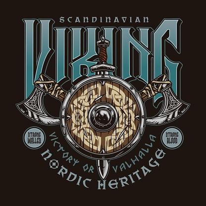 Scandinavian viking vintage label