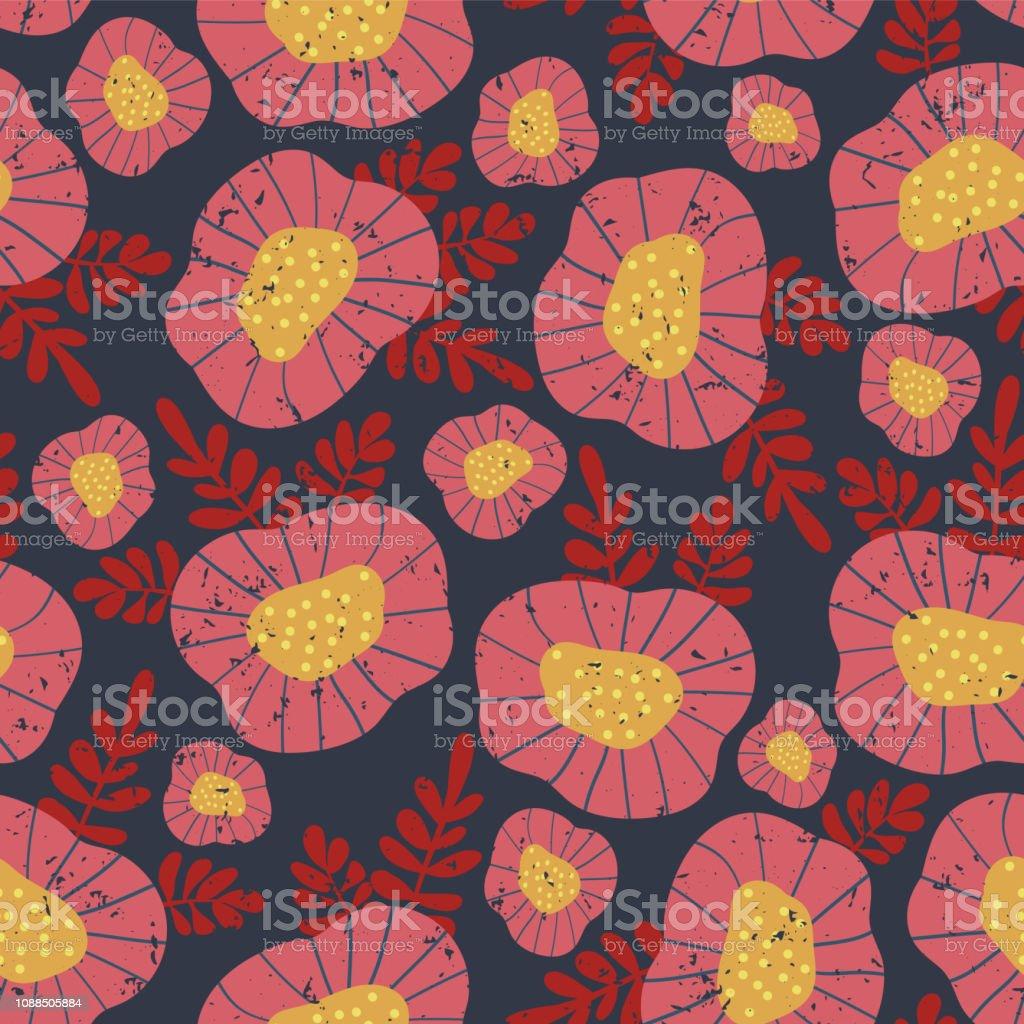Scandinavian vintage floral background vector vector art illustration