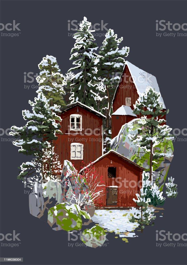 Skandinaviskt vinterlandskap med traditionella trähus omgivna av klippor, barrträd och buskar - Royaltyfri Arkivfilm vektorgrafik