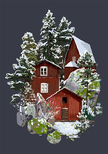 Skandinaviskt Vinterlandskap Med Traditionella Trähus Omgivna Av Klippor Barrträd Och Buskar-vektorgrafik och fler bilder på Arkivfilm