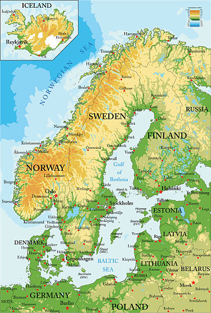 Scandinavia-physical map Highly detailed physical map of Scandinavia and  norway stock illustrations