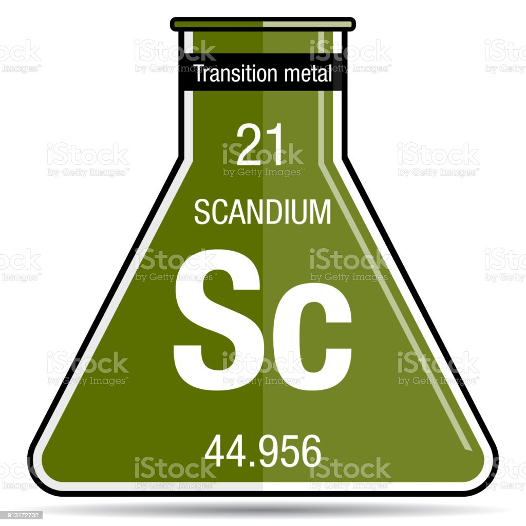 Scandium Symbol On Chemical Flask Element Number 21 Of The Periodic