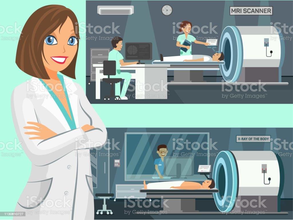 Mri Scanner Body Xray Flat Vector Illustration Stock Illustration