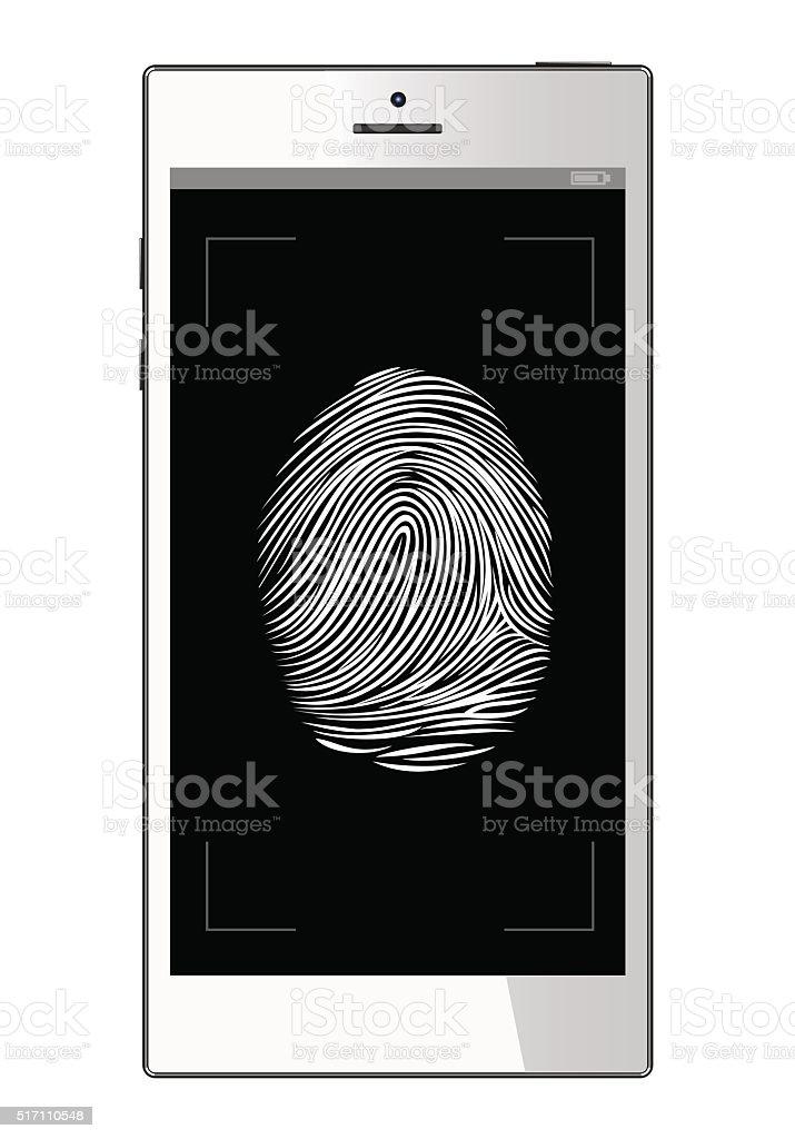 Dello Scanner Di Impronte Digitali Smartphone Cellulare Sfondo