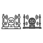 3D scanner line and glyph icon. 3d scanning vector illustration isolated on white. 3D scan technology outline style design, designed for web and app. Eps 10