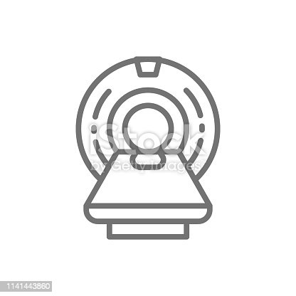 Vector MRI scanner, magnetic resonance imaging device, medical equipment, tomography line icon. Symbol and sign illustration design. Isolated on white background