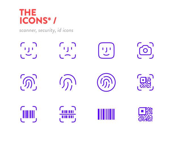 scanners icon set, vector. pixel perfect glyphs. editable stroke. security, id scanners icons, symbols - antropomorficzna twarz stock illustrations
