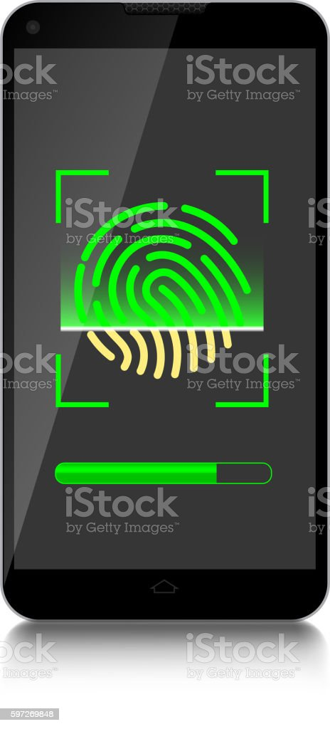 Scanning fingerprint by mobile phone royalty-free scanning fingerprint by mobile phone stock vector art & more images of abstract