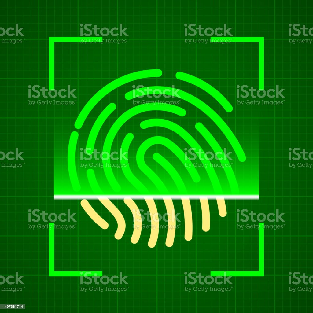 Scanning fingerprint vector art illustration