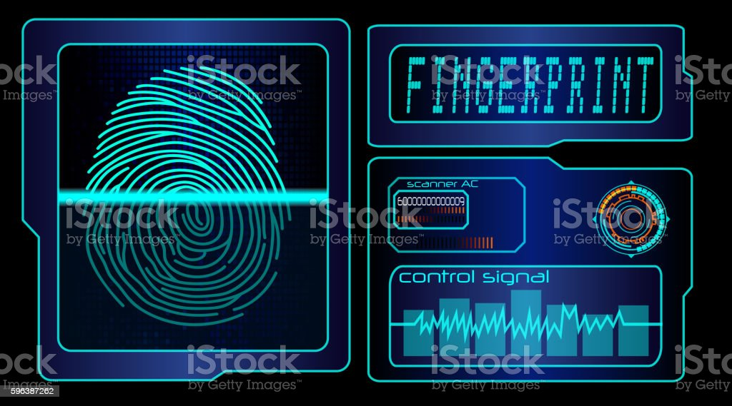 Scanning human fingerprint technology background vector art illustration