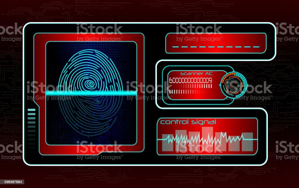 Scanning human fingerprint technology background ベクターアートイラスト