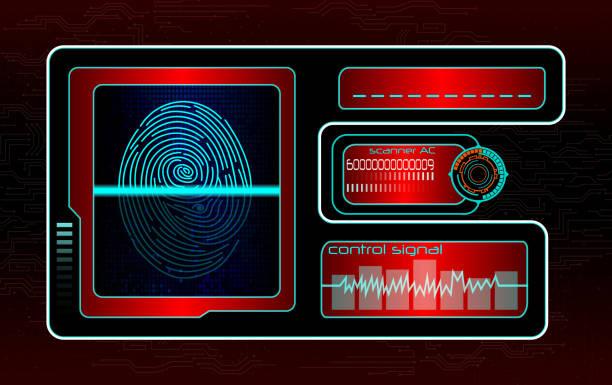 scanning human fingerprint technology background - id盗難点のイラスト素材/クリップアート素材/マンガ素材/アイコン素材