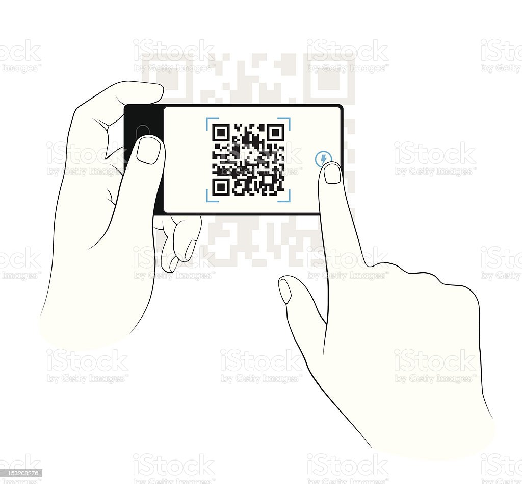 Scanning on a smart phone vector art illustration