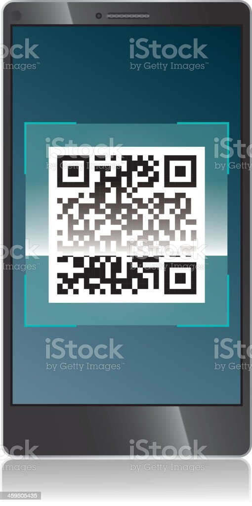 Scanning QR code royalty-free stock vector art