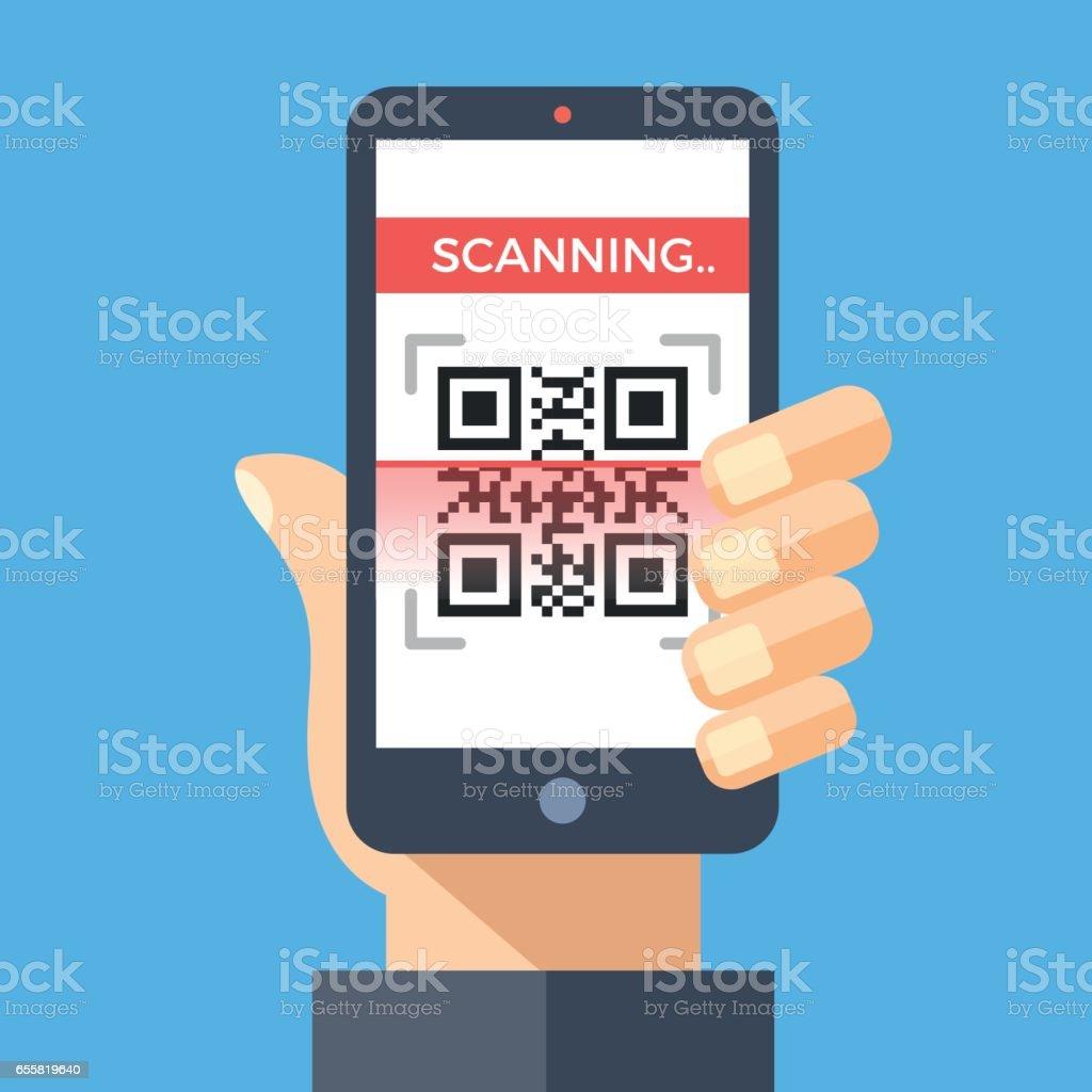 Scanning QR code with smartphone. Processing, reading QR code with mobile phone. Hand holding smartphone. Flat design graphic concept. Vector illustration vector art illustration