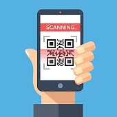 Scanning QR code with smartphone. Processing, reading QR code with mobile phone. Hand holding smartphone. Flat design graphic concept. Vector illustration