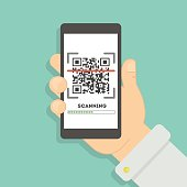 Scanning qr code with smartphone.