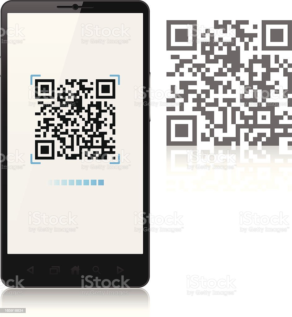 Scanning QR-Code with mobile phone, smartphone vector art illustration