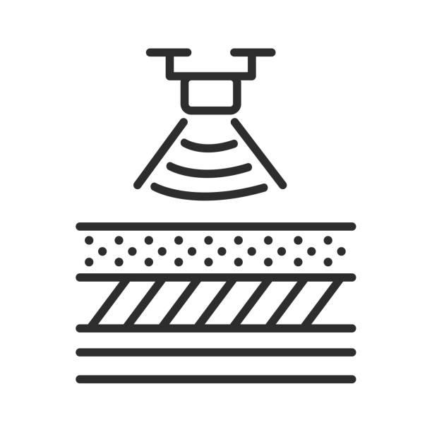 scannen der verschiedenen böden sand, ton, lehm. - aerial overview soil stock-grafiken, -clipart, -cartoons und -symbole