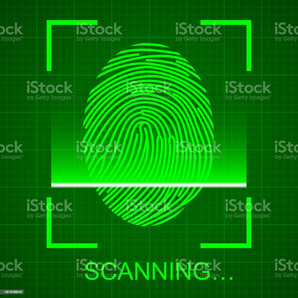 Scanning the Fingerprint vector art illustration