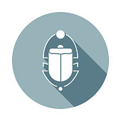 Scarab beetle icon in Flat long shadow style. One of web collection icon can be used for UI, UX on white background