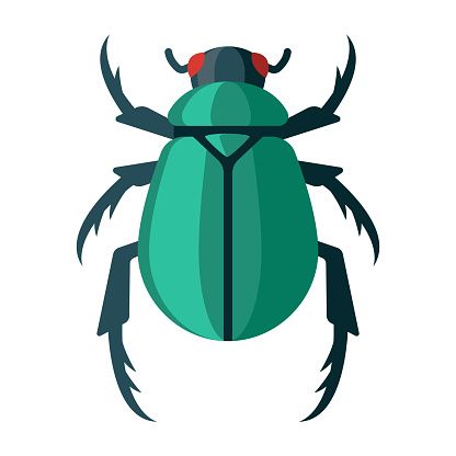 Scarab Beetle Icon on Transparent Background