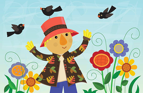 Scarecrow And Friends vector art illustration