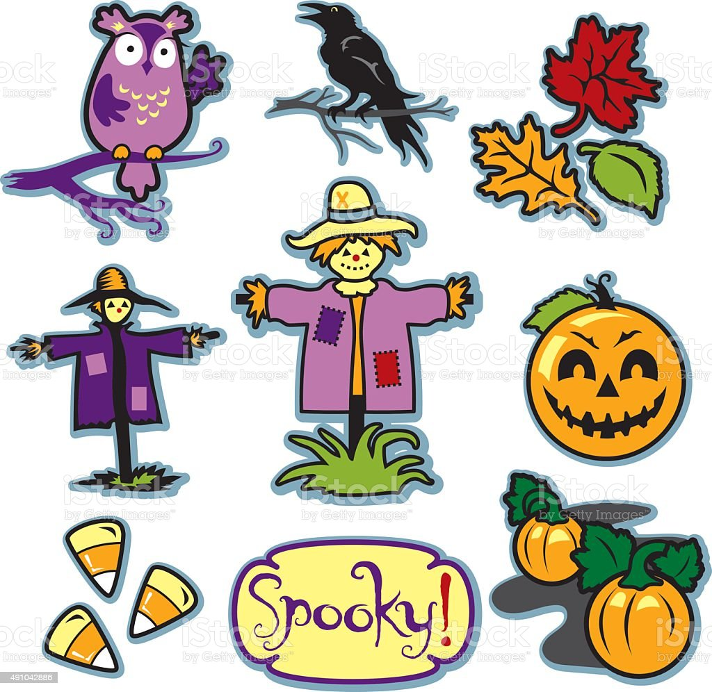 Scarecrow fall illustration set with pumpkin patch and crow vector art illustration